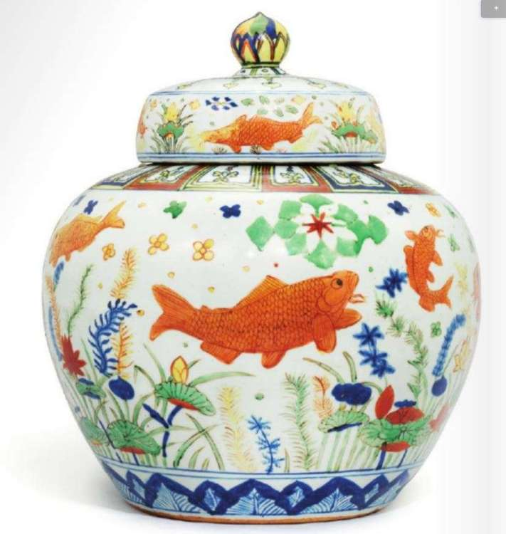 Wucai Jiajing Fish jar