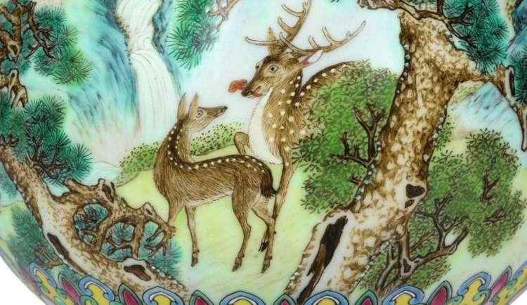 Qianlong Famille rose deer vase