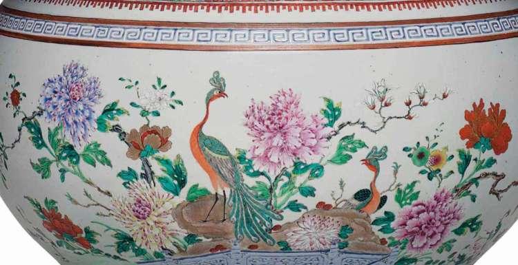 Qianlong Famille Rose basin