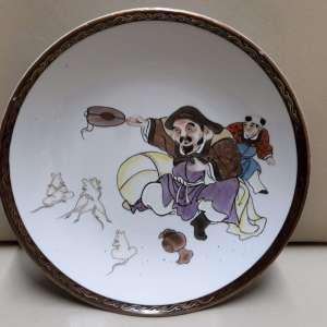 Antique japanese porcelain Kutani dish handpainted Daikoku with mices