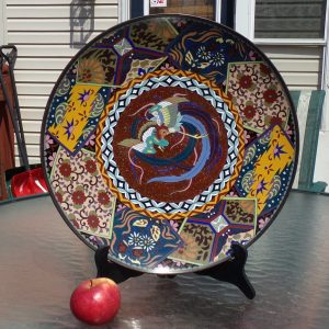 Antique Japanese Goldstone Cloisonné Charger with Phoenix. Early Meiji Period