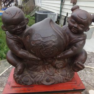 Chinese Cast Iron Bronze Patinated Ho Ho Twins Carrying Lucky Peach of Longevity