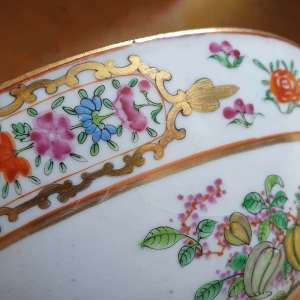 Antique Chinese 19C Famille Rose Bowls Qing Fruits and Flowers