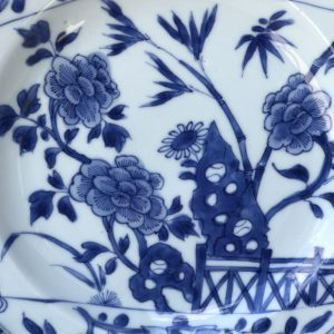 Chinese Kangxi Blue and White Porcelain Plate With Scroll decor