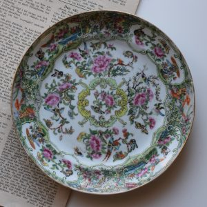 Antique rare Chinese Canton Rose Butterfly dish with bats famille rose #380
