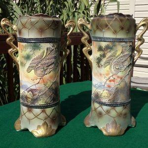 Japanese Royal Nippon Porcelain Moriage Decorated Handled Vases Circa 1900s FINE