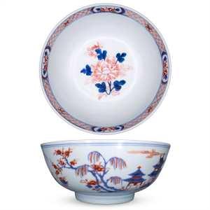 Large 18th Century Chinese Export Imari Punch Bowl. Diameter 26.5 cm
