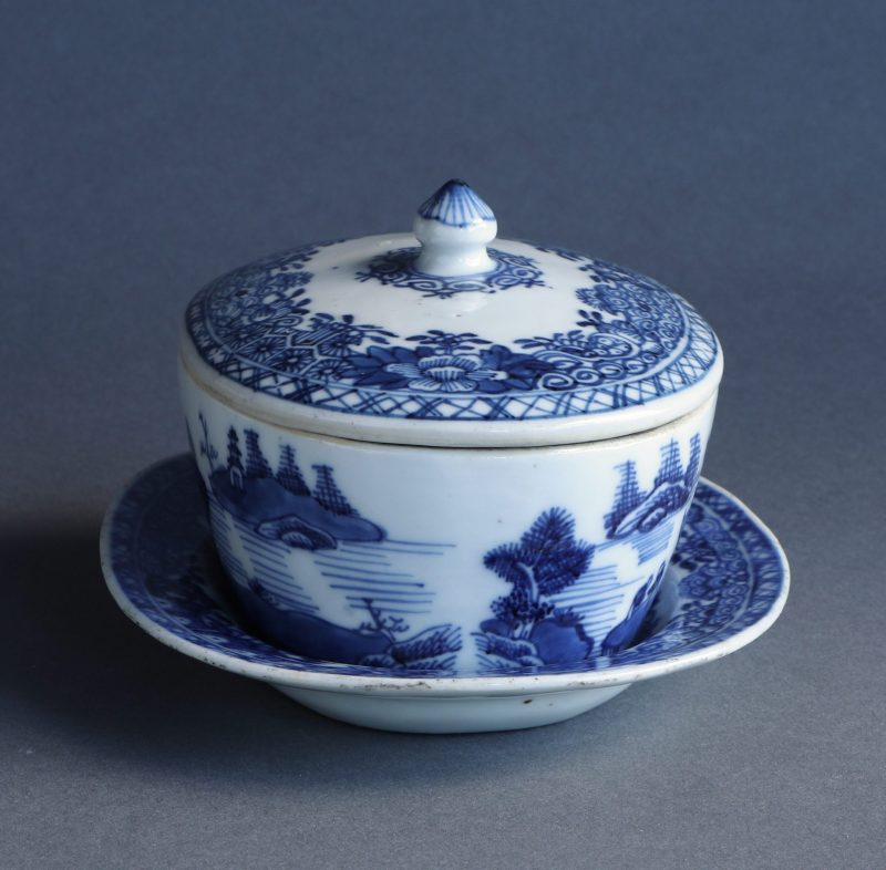 chinese export butter dish