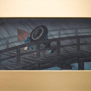Takahashi Hiroaki Shotei, 1871-1945 – Rain on Izumi Bridge. Original Japanese Woodblock Print Published by Watanabe Shozaburo