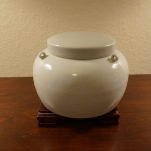 Very Rare and Stunning Antique Chinese 15th Century Lidded Jar with Three Knots in White and Emerald Green Glaze