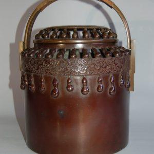 Nakagawa Joeki X teaburi handwarmer, bronze, decorated with gourds in relief, Japan,