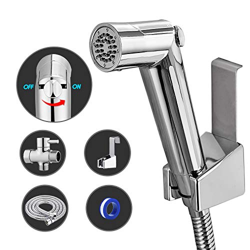 Anza Handheld Bidet Sprayer Set Premium Water Shattaf Baby Shower Cloth Diaper Spray Attachment Toilet Cleaner Pressure Control Including T Valve Bidet Toilets Bidet Toliet Seats