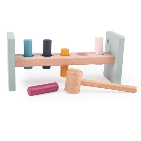 banc à marteler en bois FSC couleurs pastel bleu, orange, blanc gris bleu