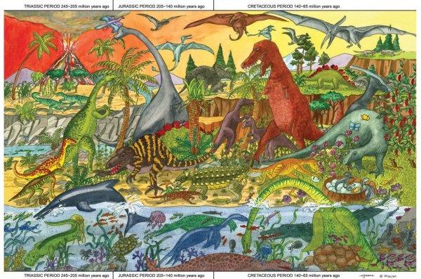 Puzzle Géant dinosaures, t-rex, bracchiosaure