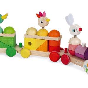 Train géant multicolore