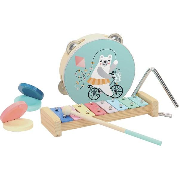 Set d'instruments de musique avec un tambourin un xylophone et sa baguette, un triangle et une paire de castagnettes