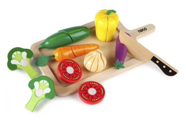 Fruits ou légumes à découper en bois