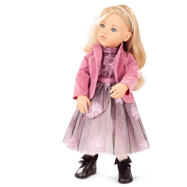 Poupée Happy Kidz Sophia blond avec une veste rose, une longue jupe et des bottines noires