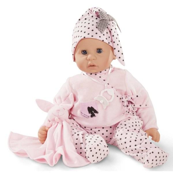 Poupée Cookie Bébé avec un pyjama rose à pois noirs