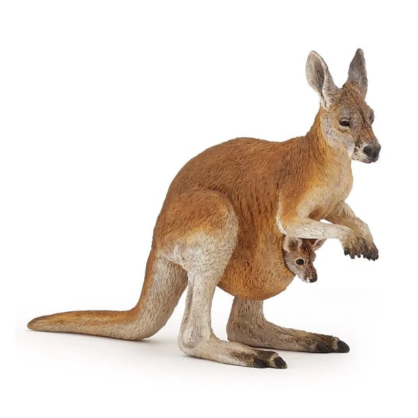 Figurine Les animaux du zoo, Kangourou et bébé, Papo, Bidiboule