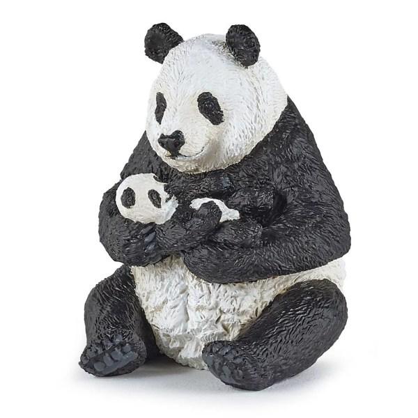 Figurine Les animaux du zoo, Panda assis et son bébé, Papo, Bidiboule