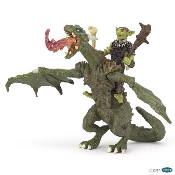 Figurines Fantastique, Gobelin chevauchant le Dragon articulé, Papo, Bidiboule