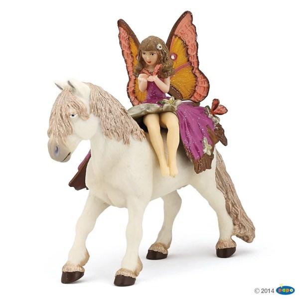 Figurines Monde enchanté, Enfant elfe rose et poney féérique, Papo, Bidiboule