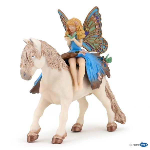 Figurines Monde enchanté, Enfant elfe bleue et poney féérique, Papo, Bidiboule