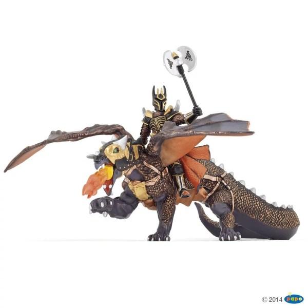 Figurines Fantastique, Chevalier triple hache chevauchant le Dragon des Ténèbres, Papo, Bidiboule