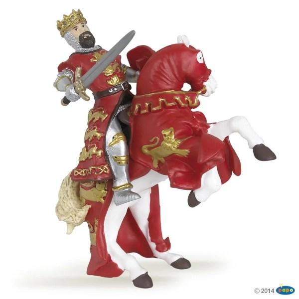 Figurines Chevaliers, Roi Richard rouge et son cheval, Papo, Bidiboule