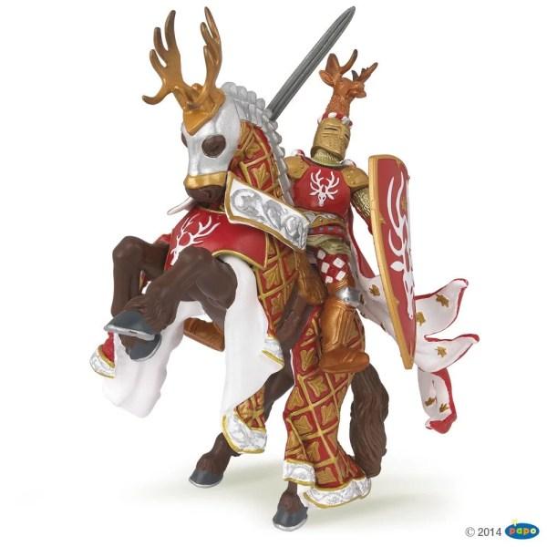 Figurines Chevaliers, Maître des armes rouge cerf et son cheval, Papo, Bidiboule