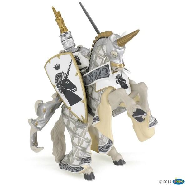 Figurines Chevaliers, Maître des armes et son cheval blanc licorne, Papo, Bidiboule