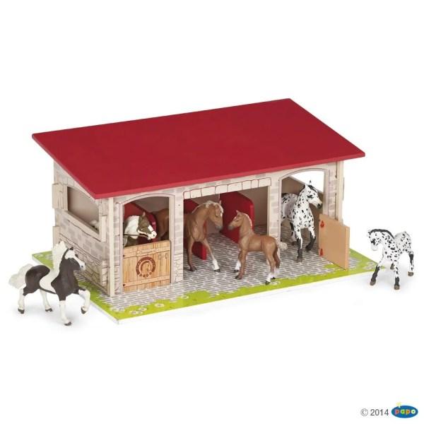 Box à chevaux, Bois, Papo, Bidiboule