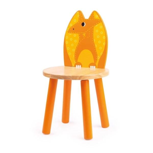 Chaise dinosaure en bois jaune à l'image du Pterodactyle