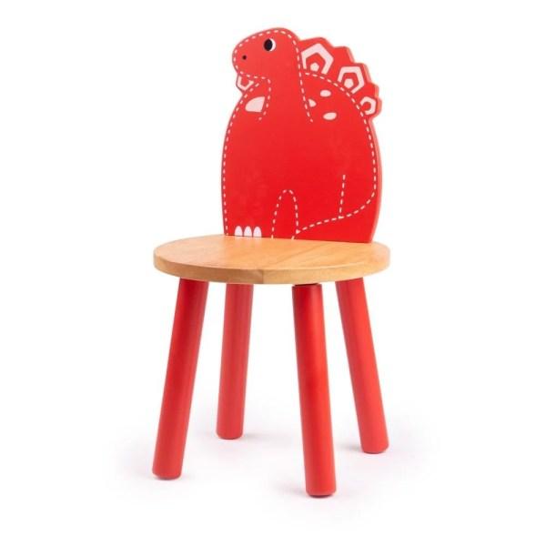 Chaise dinosaure en bois rouge à l'image du Stegosaure