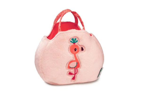 Le sac à main à l'effigie d'Anaïs le Flamand rose est un sac à mains pour enfant en matière toute douce et qui comporte de nombreux accessoires. Vue d'ensemble du sac et de ses deux jolies poignées en tissu.