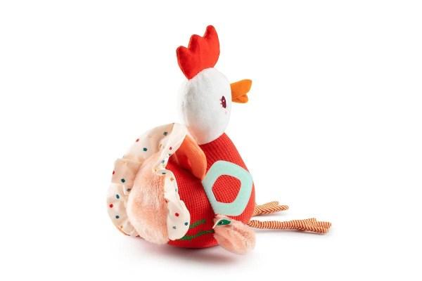 La peluche d'activités en forme de poule Paulette la poulette est un jouet d'éveil qui titillera la curiosité des tout petits.