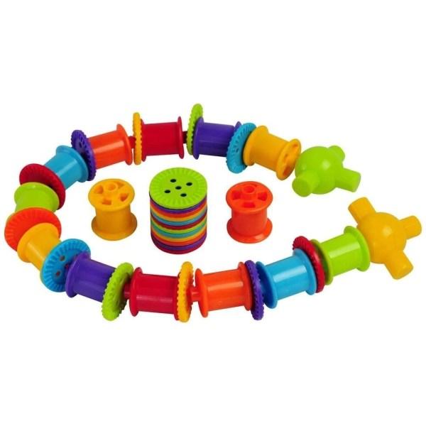 Ce jeu de laçage éducatif est composé de 300 boutons, 72 bobines, 24 têtes et 24 cordons.