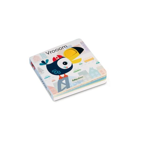 Ce livre pour bébé tactile et sonore est un livre en carton composé de 16 pages sur le thème des transports.