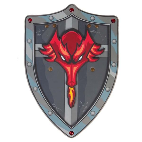 Bouclier gris avec dragon rouge
