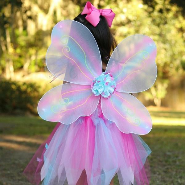 Robe papillon Rose portée par une enfant de dos
