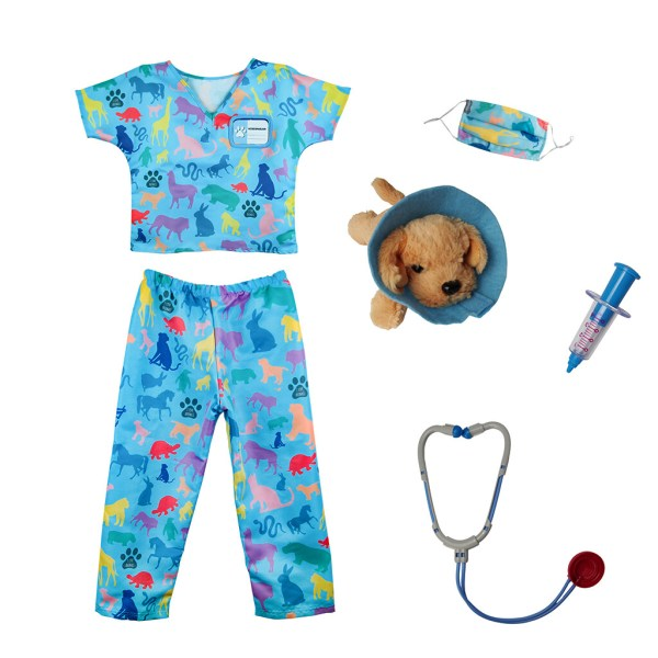 Déguisement de vétérinaire et ses accessoires : chien en peluche, collerette, seringue, masque et stéthoscope