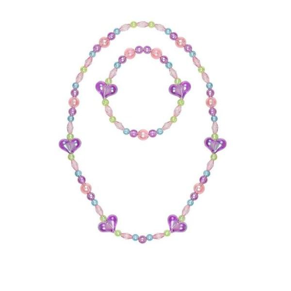 Collier et bracelet coeur violet avec des perles roses et violettes