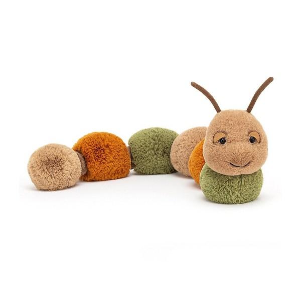 La peluche Figgy la Chenille est une peluche en forme de chenille qui convient auxbébés dès la naissance. Son corps très long (60 cm) est composé de pompons de texture très douce aux couleurs de la forêt : vert sauge, roux et beige.