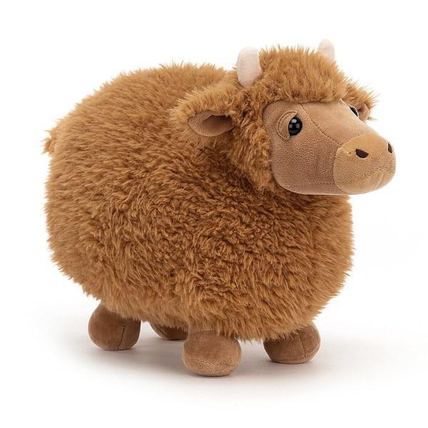 La peluche Rolbie la vache est une peluche sur le thème des animaux de la fermequi convient aux enfants à partir de la naissance. Cette jolie vache grassouillette a une texture très douce et tient bien droite sur ses quatre pattes.