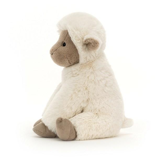 Deux tailles sont disponibles pour cet agneau très doux à l'air timide. C'est un cadeau de naissance pour lequel on est sûr de ne pas se tromper.