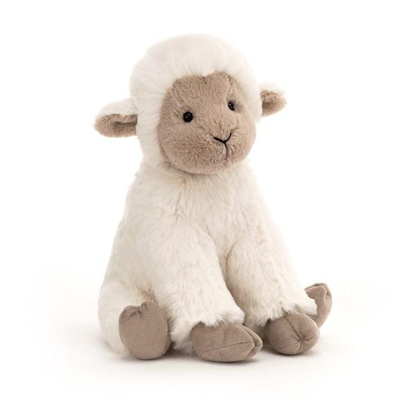 La peluche agneau Libby se tient bien assis sur ses deux pattes arrière comme Bébé le fera dans quelques mois. Ses couleurs beige et gris clair vont charmer votre enfant qui adorera jouer avec les petites oreilles de Libby et lui donner plein de câlins.
