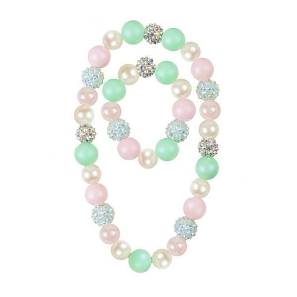 Collier et bracelet de perles lisses vertes blanches roses et des perles à reliefs brillantes