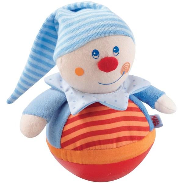 Culbuto Clown en tissu de couleur rouge orange et bleu