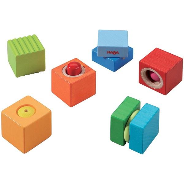 6 Blocs découvertes sonores vert bleu orange rouge jaune et vert et bleu